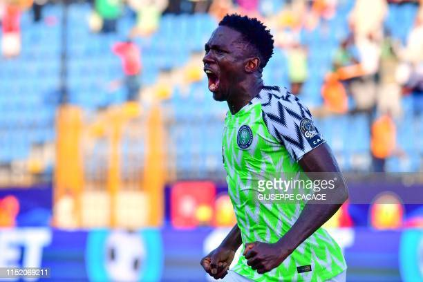 Nigeria's defender Kenneth Omeruo celebrates his goal during the 2019 Africa Cup of Nations football match between Nigeria and Guinea at the...