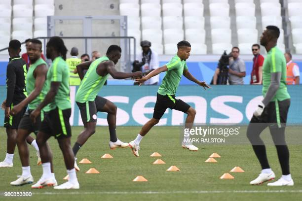 Nigeria's defender Tyronne Ebuehi and teammates attend a training session at Volgograd Arena in Volgograd on June 21 on the eve of their Russia 2018...
