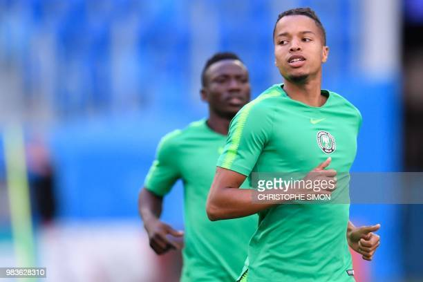 Nigeria's defender Tyronne Ebuehi takes part in a training session of Nigeria's national football team at the Saint Petersburg Stadium in Saint...