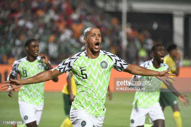 Nigeria's defender William Ekong celebrates his goal during the 2019 Africa Cup of Nations quarter final football match between Nigeria and South...