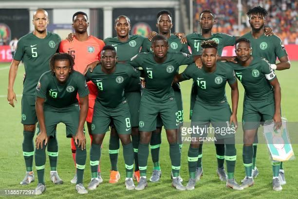 Nigeria's defender William Ekong, Nigeria's goalkeeper Daniel Akpeyi, Nigeria's forward Odion Ighalo, Nigeria's defender Kenneth Omeruo, Nigeria's...