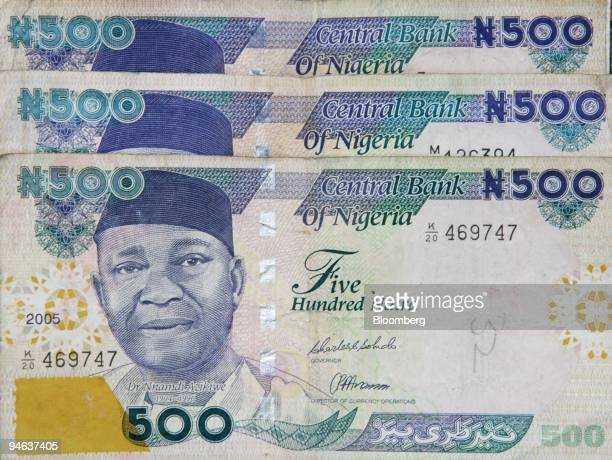 Nigeria's first president Dr Nnamdi Azikiwe is depicted on the from of Nigeria's currency the naira in Abuja Nigeria Tuesday December 12 2006