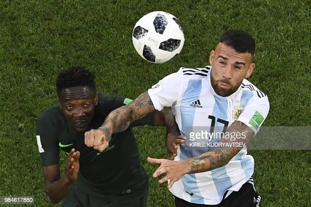 Nigeria's forward Ahmed Musa and Argentina's defender Nicolas Otamendi compete for the ball during the Russia 2018 World Cup Group D football match...