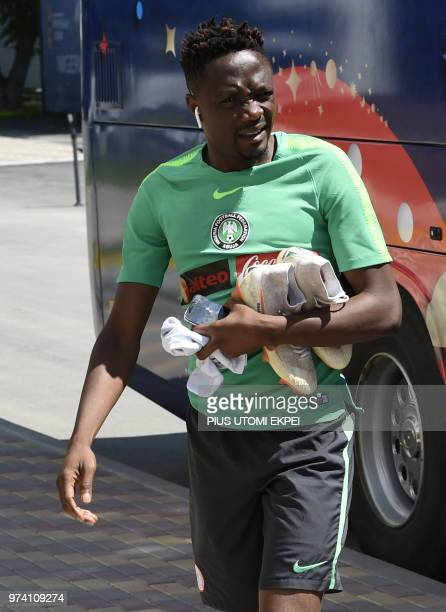 Nigeria's forward Ahmed Musa arrives to attend a training session at Essentuki Arena in southern Russia on June 14, 2018 ahead of Russia 2018 World...