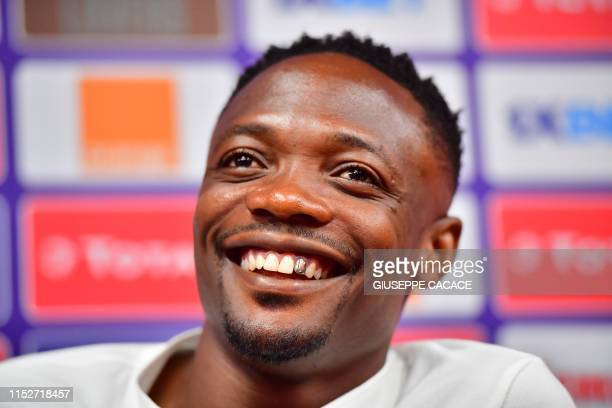 Nigeria's forward Ahmed Musa attends a press conference at the Alexandria stadium in Alexandria, northern Egypt, on June 29 on the eve of the 2019...