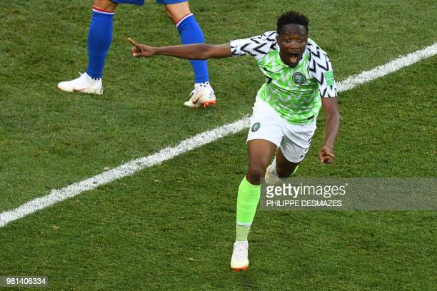 Nigeria's forward Ahmed Musa celebrates after scoring a goal during the Russia 2018 World Cup Group D football match between Nigeria and Iceland at...