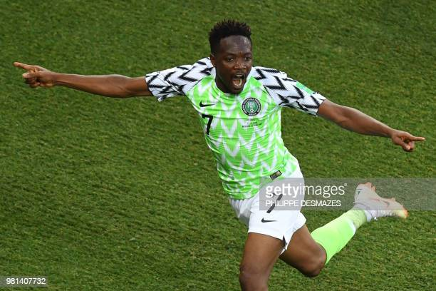 TOPSHOT Nigeria's forward Ahmed Musa celebrates after scoring a goal during the Russia 2018 World Cup Group D football match between Nigeria and...