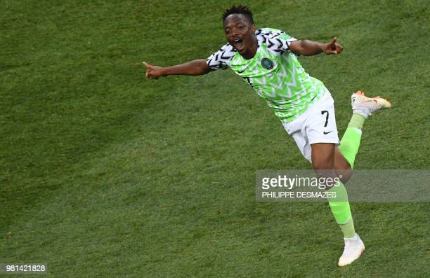 TOPSHOT Nigeria's forward Ahmed Musa celebrates after scoring a second goal during the Russia 2018 World Cup Group D football match between Nigeria...