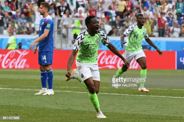 Nigeria's forward Ahmed Musa celebrates after scoring their opener during the Russia 2018 World Cup Group D football match between Nigeria and...