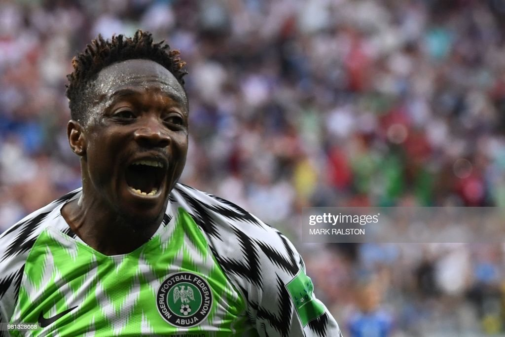 TOPSHOT - Nigeria's forward Ahmed Musa celebrates after scoring their second goal during the Russia 2018 World Cup Group D football match between Nigeria and Iceland at the Volgograd Arena in Volgograd on June 22, 2018. (Photo by Mark RALSTON / AFP) / RESTRICTED
