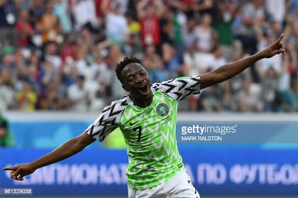 Nigeria's forward Ahmed Musa celebrates after scoring their second goal during the Russia 2018 World Cup Group D football match between Nigeria and...