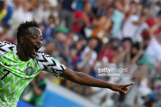 TOPSHOT Nigeria's forward Ahmed Musa celebrates after scoring their second goal during the Russia 2018 World Cup Group D football match between...