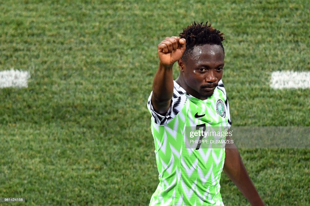 TOPSHOT - Nigeria's forward Ahmed Musa celebrates at the end of the Russia 2018 World Cup Group D football match between Nigeria and Iceland at the Volgograd Arena in Volgograd on June 22, 2018. (Photo by Philippe DESMAZES / AFP) / RESTRICTED