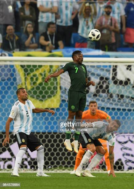 Nigeria's forward Ahmed Musa competes for the ball during the Russia 2018 World Cup Group D football match between Nigeria and Argentina at the Saint...