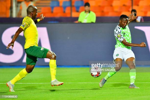 Nigeria's forward Ahmed Musa passes the ball during the 2019 Africa Cup of Nations quarter final football match between Nigeria and South Africa at...