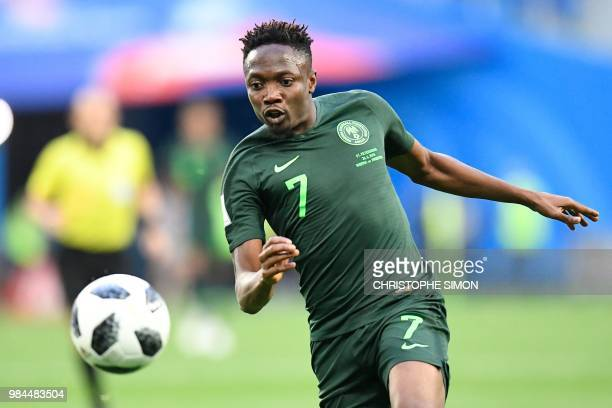 Nigeria's forward Ahmed Musa runs with the ball during the Russia 2018 World Cup Group D football match between Nigeria and Argentina at the Saint...