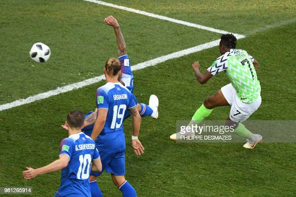 Nigeria's forward Ahmed Musa scores a goal during the Russia 2018 World Cup Group D football match between Nigeria and Iceland at the Volgograd Arena...