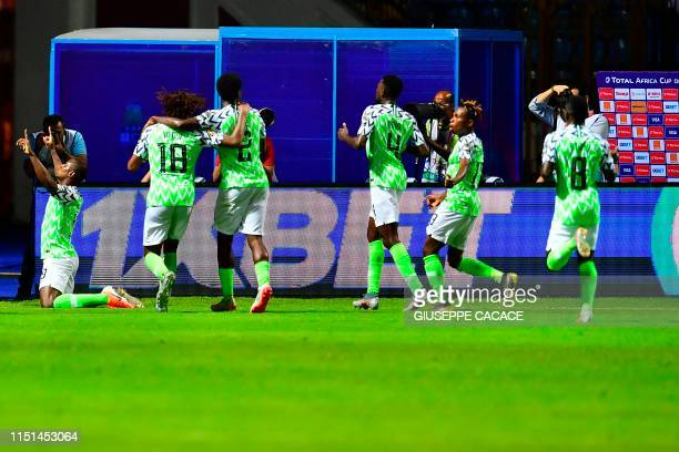 Nigeria's forward Odion Ighalo celebrates his goal during the 2019 Africa Cup of Nations football match between Nigeria and Burundi at Alexandria...