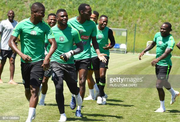 Nigeria's forward Victor Moses attends a training session with teammates at Essentuki Arena in southern Russia on June 14, 2018 ahead of Russia 2018...