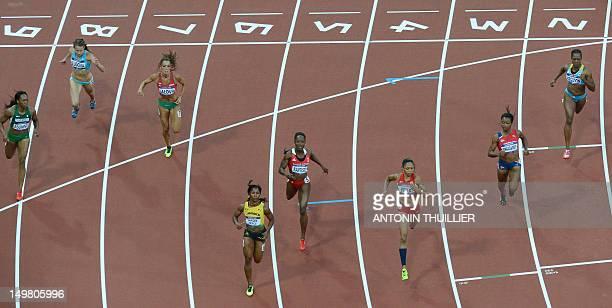 Nigeria's Gloria Asumnu Kazakhstan's Olga Bludova Bulgaria's Ivet Lalova Jamaica's ShellyAnn FraserPryce Trinidad and Tobago's KellyAnn Baptiste US'...