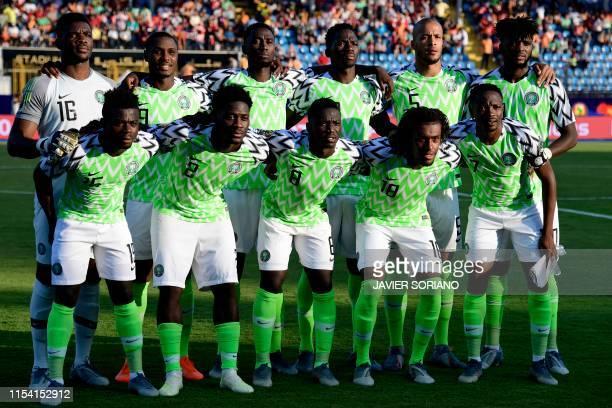 Nigeria's goalkeeper Daniel Akpeyi, Nigeria's forward Odion Ighalo, Nigeria's midfielder Wilfred Ndidi, Nigeria's defender Kenneth Omeruo, Nigeria's...