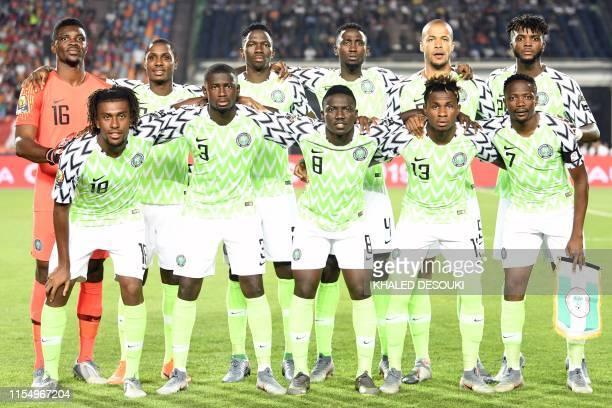 Nigeria's goalkeeper Daniel Akpeyi, Nigeria's forward Odion Ighalo, Nigeria's defender Kenneth Omeruo, Nigeria's midfielder Wilfred Ndidi, Nigeria's...