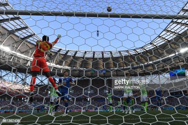 Nigeria's goalkeeper Francis Uzoho clears the ball during the Russia 2018 World Cup Group D football match between Nigeria and Iceland at the...
