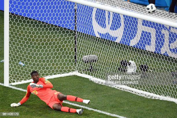Nigeria's goalkeeper Francis Uzoho eyes the ball as it goes over the crossbar during Iceland's penalty kick during the Russia 2018 World Cup Group D...