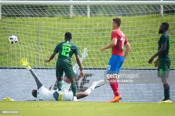Nigerias goalkeeper Francis Uzoho fails to save the ball during the international friendly football match between Nigeria and Czech Republic in...