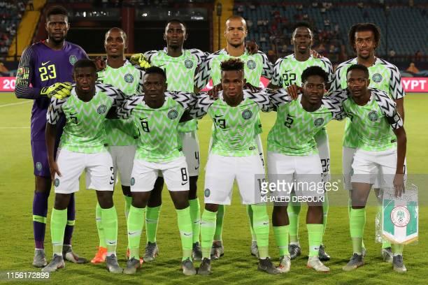 Nigeria's goalkeeper Francis Uzoho, Nigeria's forward Odion Ighalo, Nigeria's midfielder Wilfred Ndidi, Nigeria's defender William Ekong, Nigeria's...