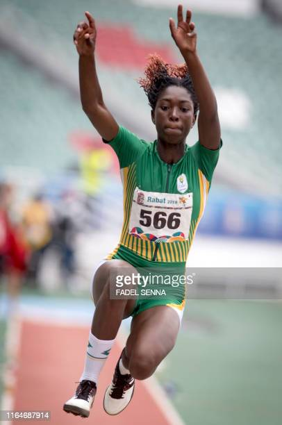 Nigeria's Grace Chinonyelum Anigbata competes during the Women's Long Jump Final at the 12th edition of the African Games in Rabat on August 29 2019