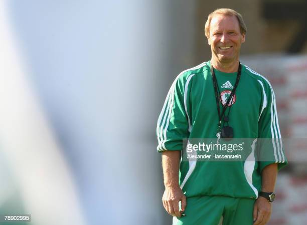 Nigerias head coach Berti Vogts smiles during the Nigeria national soccer team training session on January 11 2007 in Marbella Spain