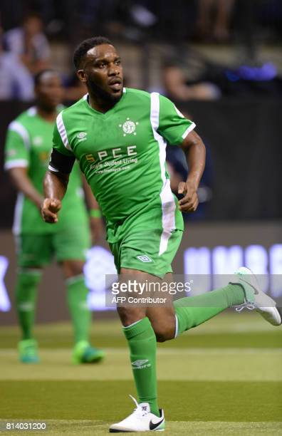 Nigeria's JayJay Okocha runs for the ball during the Star Sixes football match between China and Nigeria at the O2 Arena in London on July 13 2017...