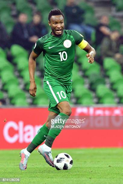 Nigeria's John Obi Mikel controls the ball during an international friendly football match between Argentina and Nigeria in Krasnodar on November 14...