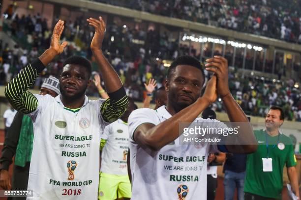 Nigeria's midfielder John Obi Mikel celebrates qualifying after the FIFA World Cup 2018 football match between Nigeria and Zambia in Uyo Akwa Ibom...