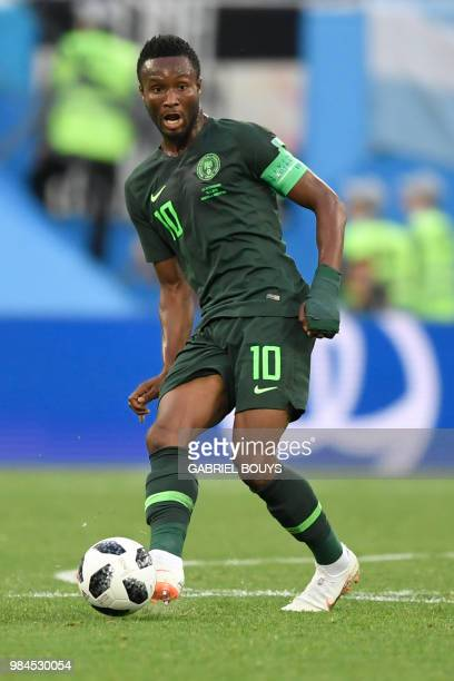 Nigeria's midfielder John Obi Mikel controls the ball during the Russia 2018 World Cup Group D football match between Nigeria and Argentina at the...