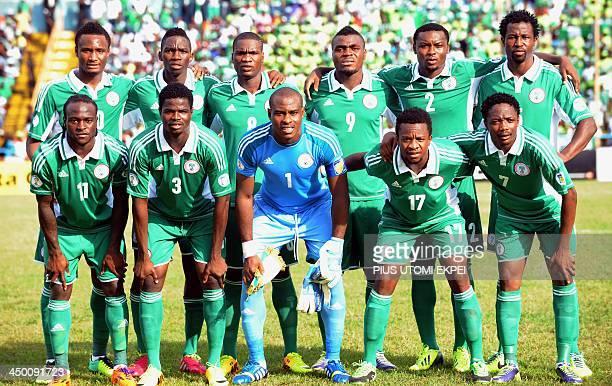 Nigeria's midfielder John Obi Mikel defender Kenneth Omeruo forward Brown Ideye forward Emmanuel Emenike defender Godfrey Oboabona defender Efe...
