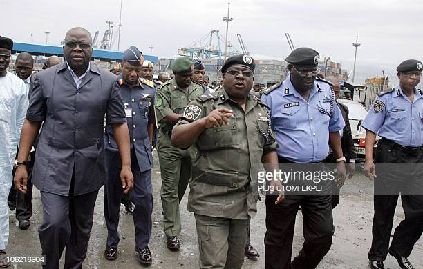 Nigeria's National Security Adviser Lt General Patrick Aziza accompanied by top security chiefs arrives at Apapa port to inspect impounded containers...