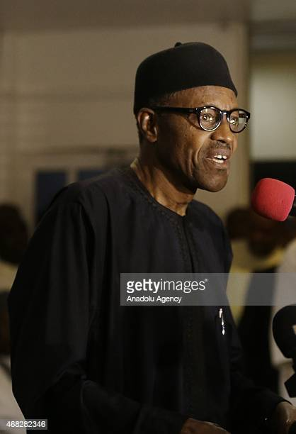 Nigeria's newly elected President Muhammed Buhari gives a speech during a press conference in Lagos Nigeria on April 01 2015The Independent National...
