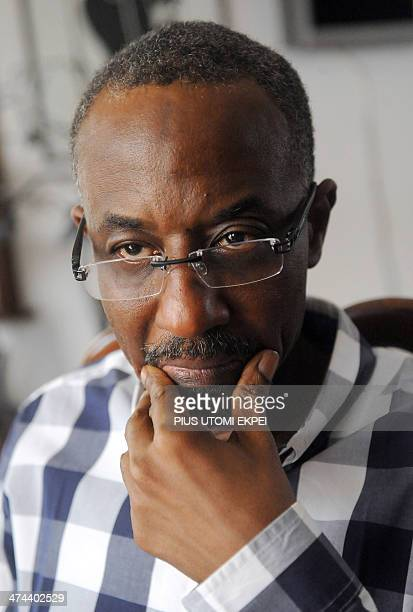 Nigeria's ousted central bank chief Mallam Lamido Sanusi gestures while speaking during an interview in Lagos on February 23 2014 Lamido was...