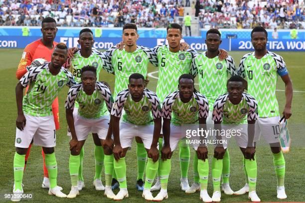 Nigeria's players goalkeeper Francis Uzoho defender Kenneth Omeruo defender Leon Balogun defender William TroostEkong midfielder Onyinye Ndidi...