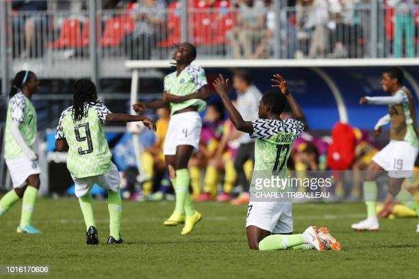 Nigeria's players react to their qualification for the quarterfinals at the end of the Women's World Cup U20 Group D football match China vs Nigeria...