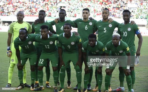Nigeria's players REAR Ikechukwu Ezenwa Uwa Echiejile Onyinye Ndidi Leon Balogun William Ekong John Obi Mikel FRONT Victor Moses Abdullahi Shehu...