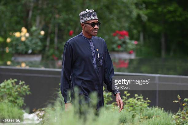 Nigeria's President Muhammadu Buhari arrives to attend a working session with outreach guests at the summit of G7 nations at Schloss Elmau on June 8,...