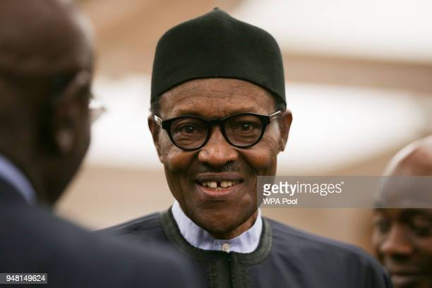 Nigeria's President Muhammadu Buhari at a reception at the closing session of the Commonwealth Business Forum at the Guildhall on April 18 in London...