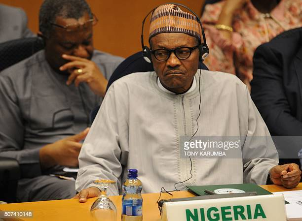 Nigeria's President Muhammadu Buhari attends the African Union Peace and Security Council in Addis Ababa on January 29 2016 African heads of state...