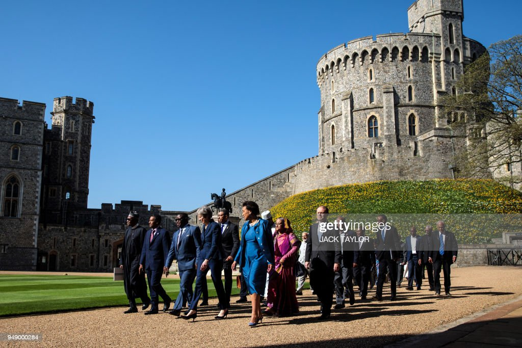 Nigeria's President Muhammadu Buhari, Seychelles' President Danny Faure, Sierra Leone's President Julius Maada Bio, Britain's Prime Minister Theresa May and Commonwealth Secretary-General Patricia Scotland arrive at Windsor Castle for a Commonwealth Heads of Government meeting (CHOGM) retreat in Windsor, west of London on April 20, 2018.