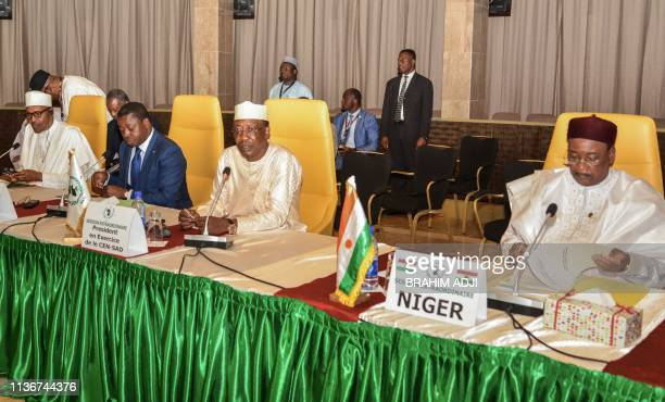 Nigeria's President Muhammadu Buhari Togo's President Faure Gnassingbe Chad's President Idriss Deby and Niger's President Mahamadou Issoufou attend...