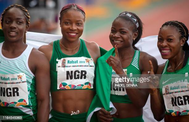 Nigeria's team are pictured after they won during the Women's 4x100m Relay at the 12th edition of the African Games on August 28 2019 in Rabat