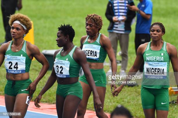 Nigeria's team celebrate winnning the women's 4x400m relay of the African Athletics Championships at the Stephen Keshi Stadium in Asaba Delta State...